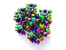 Абстрактная предпосылка с много покрашенных кубов Стоковое Изображение RF