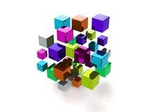 Абстрактная предпосылка с много покрашенных кубов Стоковые Фото