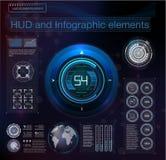 Абстрактная предпосылка с различными элементами hud Элементы Hud, диаграмма также вектор иллюстрации притяжки corel Элементы голо Стоковое фото RF