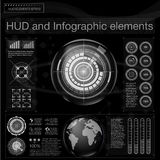 Абстрактная предпосылка с различными элементами hud Элементы Hud, диаграмма также вектор иллюстрации притяжки corel Элементы голо Стоковая Фотография