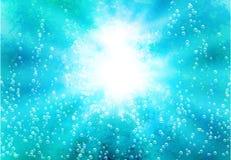 Абстрактная предпосылка с светами и blebs в воде Стоковые Изображения RF