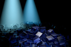 Абстрактная предпосылка с стеклянным кубом Стоковая Фотография
