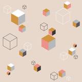 Абстрактная предпосылка с цветастыми кубами Стоковое Фото