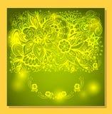 Абстрактная предпосылка с цветками и светом Дзэн-doodle в зеленом цвете Стоковая Фотография