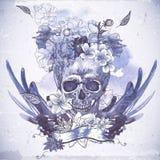 Абстрактная предпосылка с черепом, крылами и цветками Стоковая Фотография RF