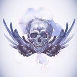 Абстрактная предпосылка с черепом, крылами и цветками Стоковое Изображение