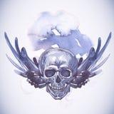 Абстрактная предпосылка с черепом, крылами и цветками Стоковые Фото