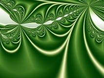 Абстрактная предпосылка фрактали с градиентами и кривые в тенях зеленого цвета Стоковое Изображение