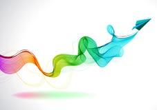 Абстрактная предпосылка цвета с бумажным самолетом воздуха Стоковое Фото
