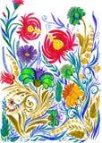 Абстрактная предпосылка цветка, чертеж акварели на бумаге стоковая фотография rf