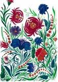 Абстрактная предпосылка цветка, чертеж акварели на бумаге стоковая фотография