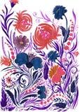 Абстрактная предпосылка цветка, чертеж акварели на бумаге стоковое изображение