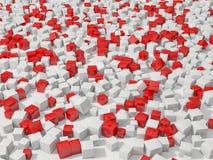 абстрактная предпосылка 3d cubes красная белизна Стоковое фото RF