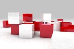 абстрактная предпосылка 3d cubes красная белизна Стоковая Фотография RF