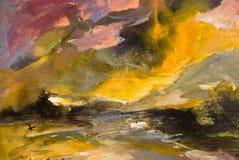 абстрактная прибрежная акварель шторма картины Стоковая Фотография