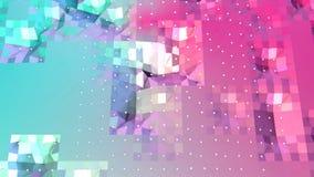 Абстрактная простая голубая розовая низкая поли поверхность 3D и белые кристаллы летая как предпосылка кибер Мягкое геометрическо бесплатная иллюстрация