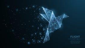 Абстрактная птица бумаги origami Полигональная сетка wireframe с точками и звездами Иллюстрация или предпосылка концепции иллюстрация вектора