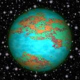 Абстрактная планета с небом и звездами Стоковое Изображение RF