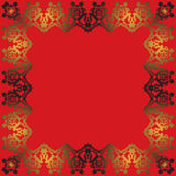 Абстрактная рамка золота на красной предпосылке Стоковая Фотография