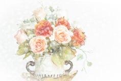 Абстрактная расплывчатая бумажная предпосылка текстуры с красивыми розами внутри Стоковые Изображения