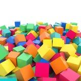Абстрактная радуга 3d покрасила кубы на белой предпосылке Стоковое Изображение RF