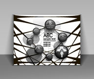 Абстрактная рогулька дела, дизайн брошюры черно-белый иллюстрация штока