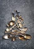 Абстрактная рождественская елка сделанная от столового прибора Стоковые Изображения