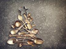 Абстрактная рождественская елка сделанная от столового прибора Стоковая Фотография RF