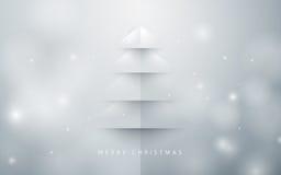 абстрактная рождественская елка предпосылки бумажный стиль искусства иллюстрация вектора