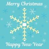 Абстрактная рождественская открытка с снежинками, бородой santa и текстом желать стоковые изображения rf