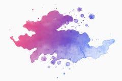 Абстрактная розов-голубая акварель на бело-серой предпосылке иллюстрация штока