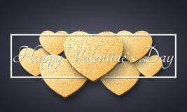 Абстрактная романтичная темная предпосылка на день валентинок Светлые золотые сердца от ярких блесков Роскошная карточка на день  иллюстрация штока