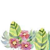 Абстрактная рука акварели покрасила карточку с листьями и цветками Стоковые Фото