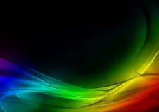 Абстрактная светящая радуга и черная предпосылка Стоковые Изображения RF