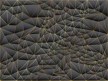 Абстрактная серая и черная предпосылка полигона с линиями золота Текстура вектора геометрическая, установила случайных треугольни иллюстрация вектора