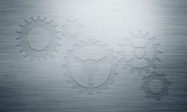 Абстрактная серая отполированная металлическая пластина с проштемпелеванными значками шестерни Стоковые Изображения