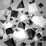 Абстрактная серая предпосылка сделанная из белых кубиков и черных призм Стоковое Изображение RF
