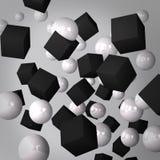 Абстрактная серая предпосылка сделанная черных кубиков и белых сфер Стоковые Фото