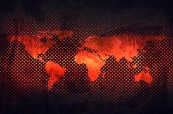 Абстрактная серая ржавая металлическая пластина с выбитой картой мира в perfo Стоковые Изображения RF