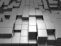 Абстрактная серебряная предпосылка кубов металла Стоковое фото RF