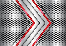Абстрактная серебряная стрелка света красной линии на векторе предпосылки дизайна сетки круга металла современном роскошном футур Стоковые Изображения RF