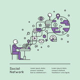 абстрактная сеть иллюстрации принципиальной схемы предпосылки отнесла social к словам wordcloud Стоковая Фотография RF