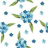 Абстрактная синь цветет безшовная картина Стоковые Фотографии RF