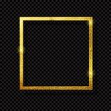 Абстрактная сияющая золотая роскошь рамки на прозрачной предпосылке также вектор иллюстрации притяжки corel Стоковые Фотографии RF