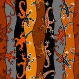 Абстрактная случайная картина в стиле заплатки с ящерицами Предпосылка Брайна племенная иллюстрация вектора