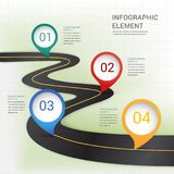 Абстрактная современная метка положения на temp элементов дороги infographic бесплатная иллюстрация
