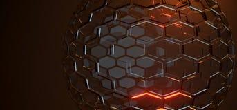 Абстрактная стеклянная сфера с шестиугольниками и светами Стоковое Изображение RF