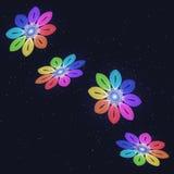 Абстрактная стилизованная радуга Flovers на звёздном небе иллюстрация штока