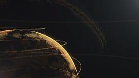 абстрактная сфера Подрезанное видео Соединенные золотые точки с линиями Интерфейс глобализации Планета двигает дальше право иллюстрация вектора