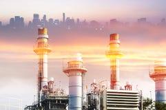 Абстрактная сцена фабрики электростанции Стоковое Изображение RF